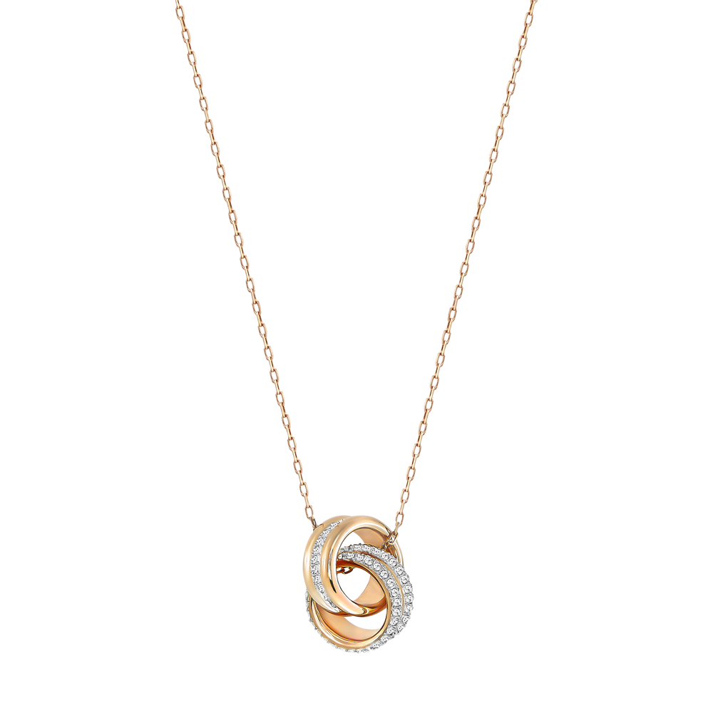 Further Pendant, Small, White, Rose Gold Plated