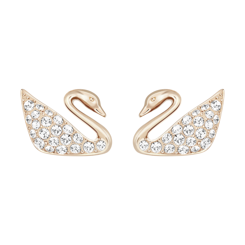 Swan Mini Pierced Earrings, White, Rose Gold Plating