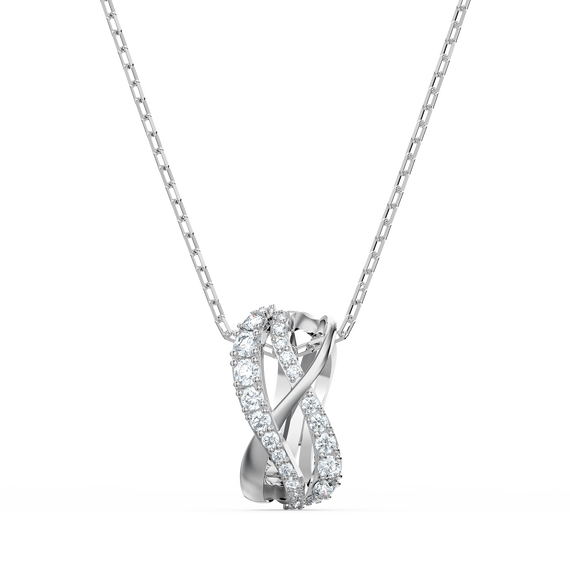 Twist Rows Pendant, White, Rhodium plated