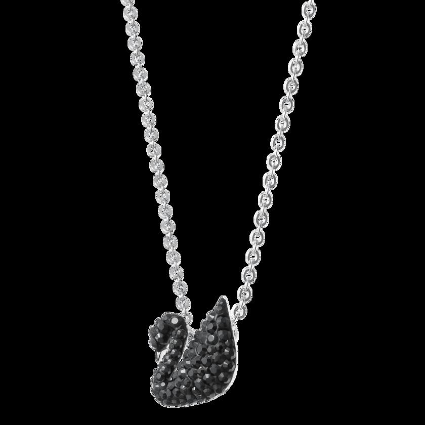 Iconic Swan Pendant, Small, Black, Rhodium Plated