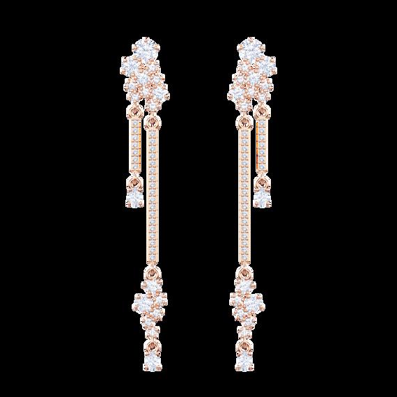 Penélope Cruz Moonsun Long Drop Earrings, White, Rose gold plating