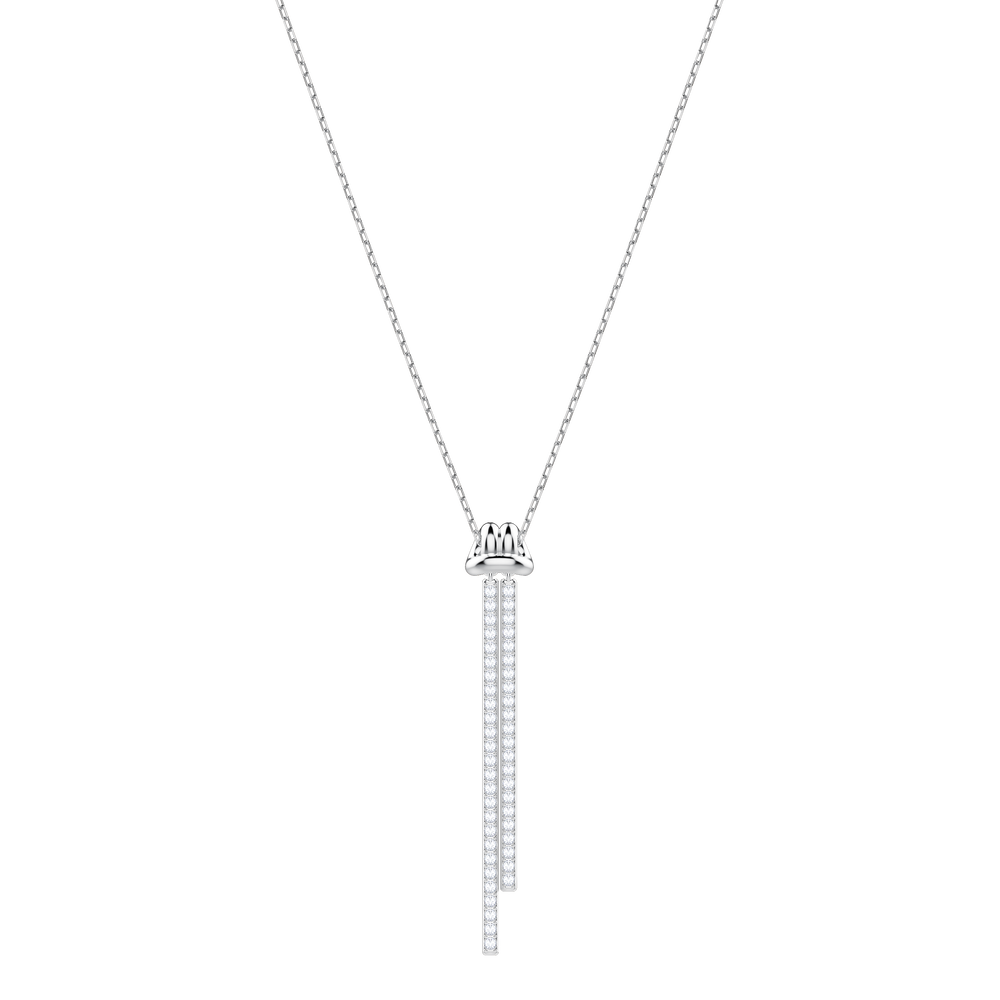 Lifelong Y Pendant, White, Rhodium Plating