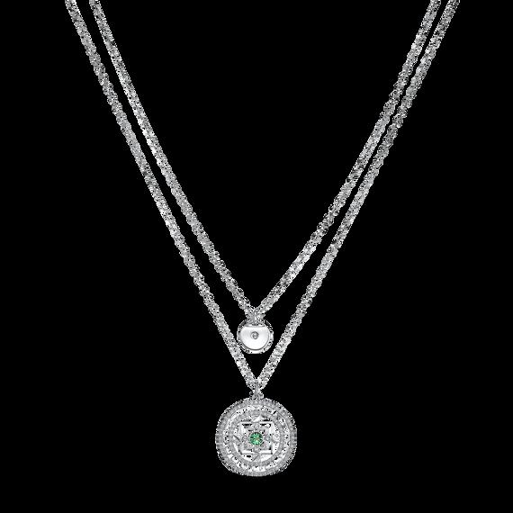 Swarovski Symbolic Mandala Necklace, White, Rhodium plated