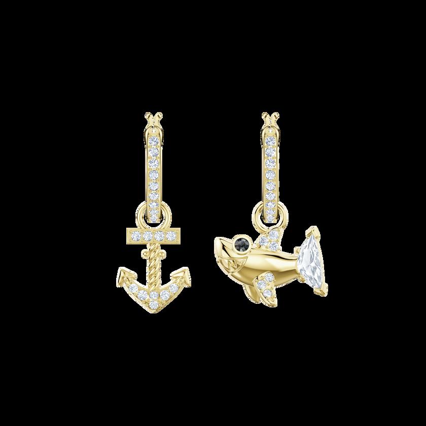 Ocean Shark Pierced Earrings, White, Gold plating