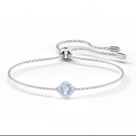 Angelic Cushion Bracelet, Blue, Rhodium plated