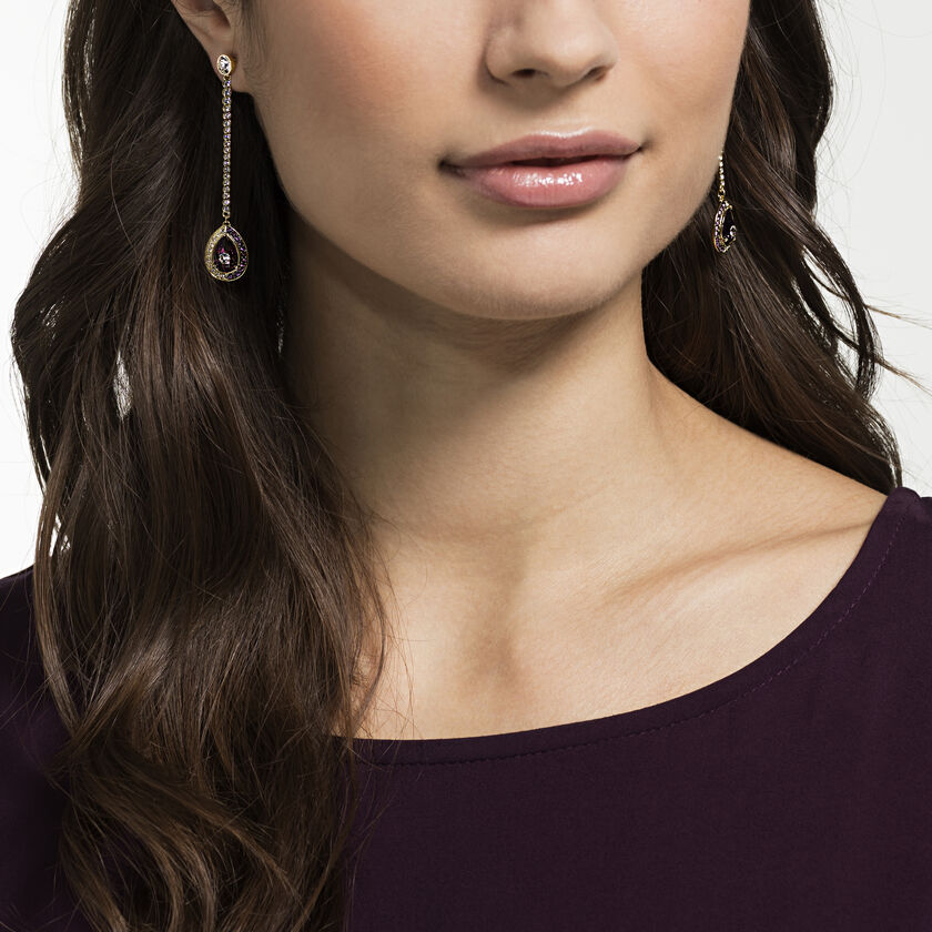 Black Baroque Drop Pierced Earrings, Purple, Gold-tone plated