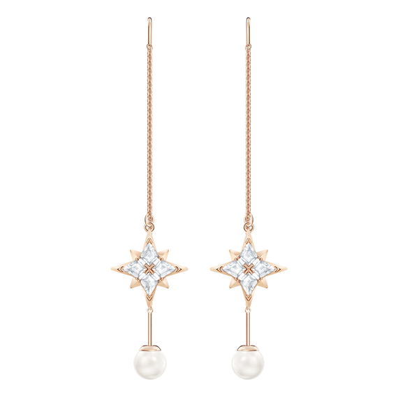 Swarovski Symbolic Chain Pierced Earrings, White, Rose gold tone plated
