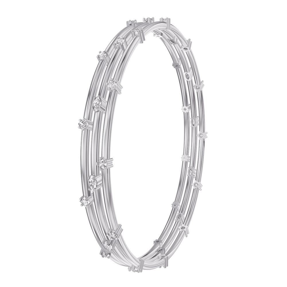Moonsun Bangle, White, Rhodium plated