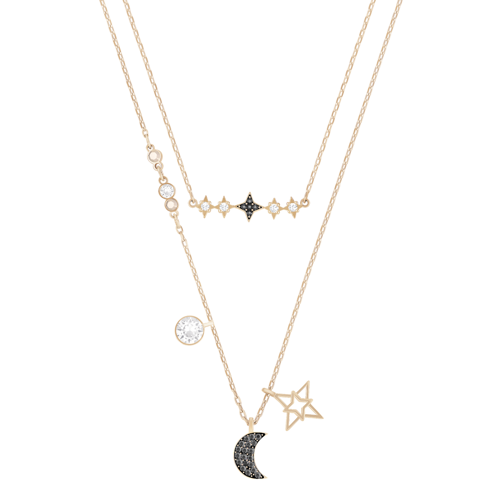 Glowing Necklace Set, Moon, Multi-Coloured, Mixed Plated