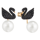 Iconic Swan Pierced Earring Jackets, Black, Rose Gold Plating