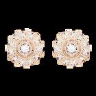Sunshine Clip Earrings, White, Rose gold plating