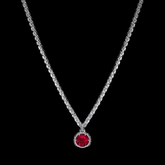 Birthstone Pendant, July, Red, Rhodium plated