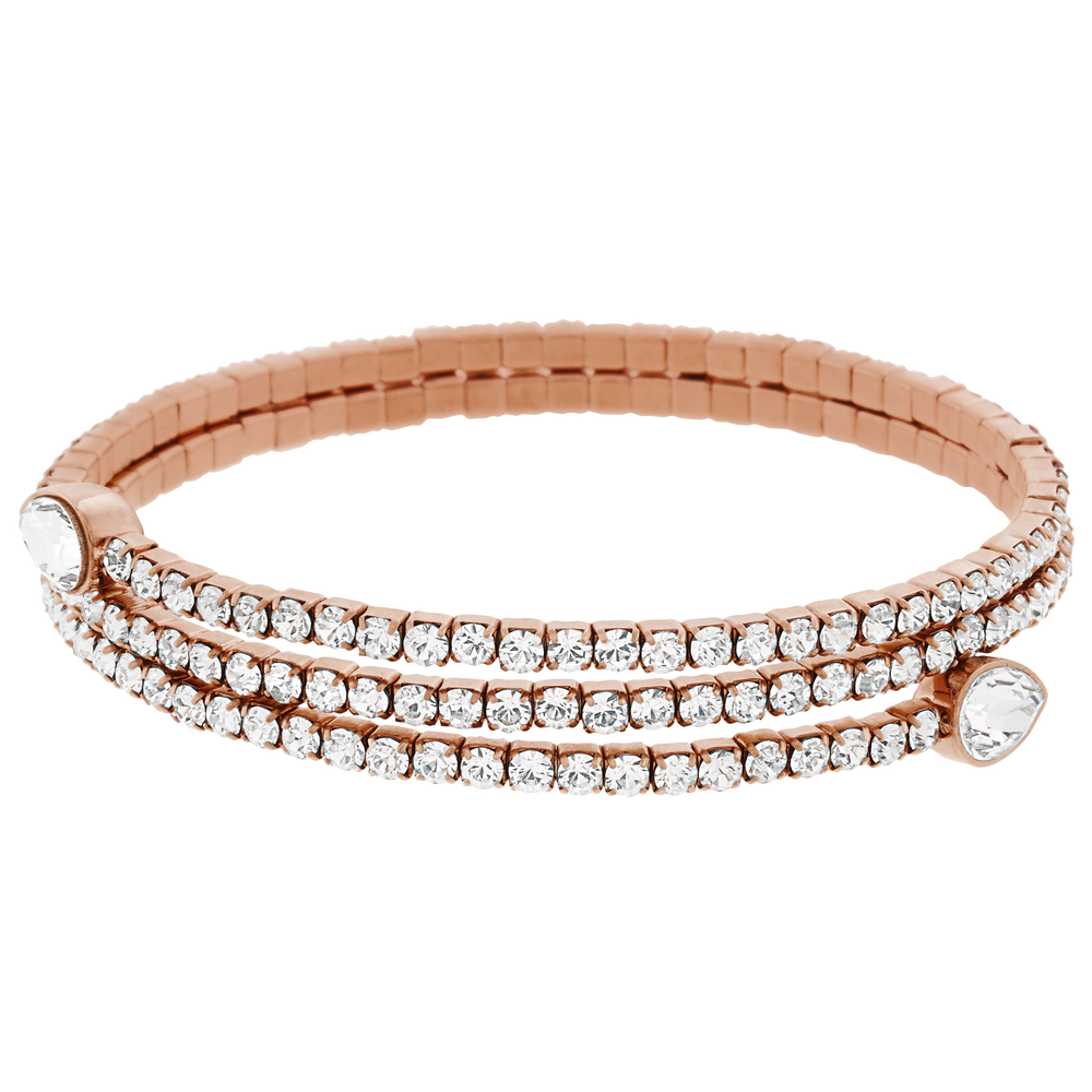 Twisty Drop Bangle, White, Rose Gold Plated