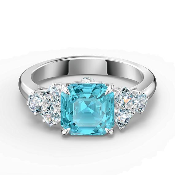 Sparkling Ring, Aqua, Rhodium plated