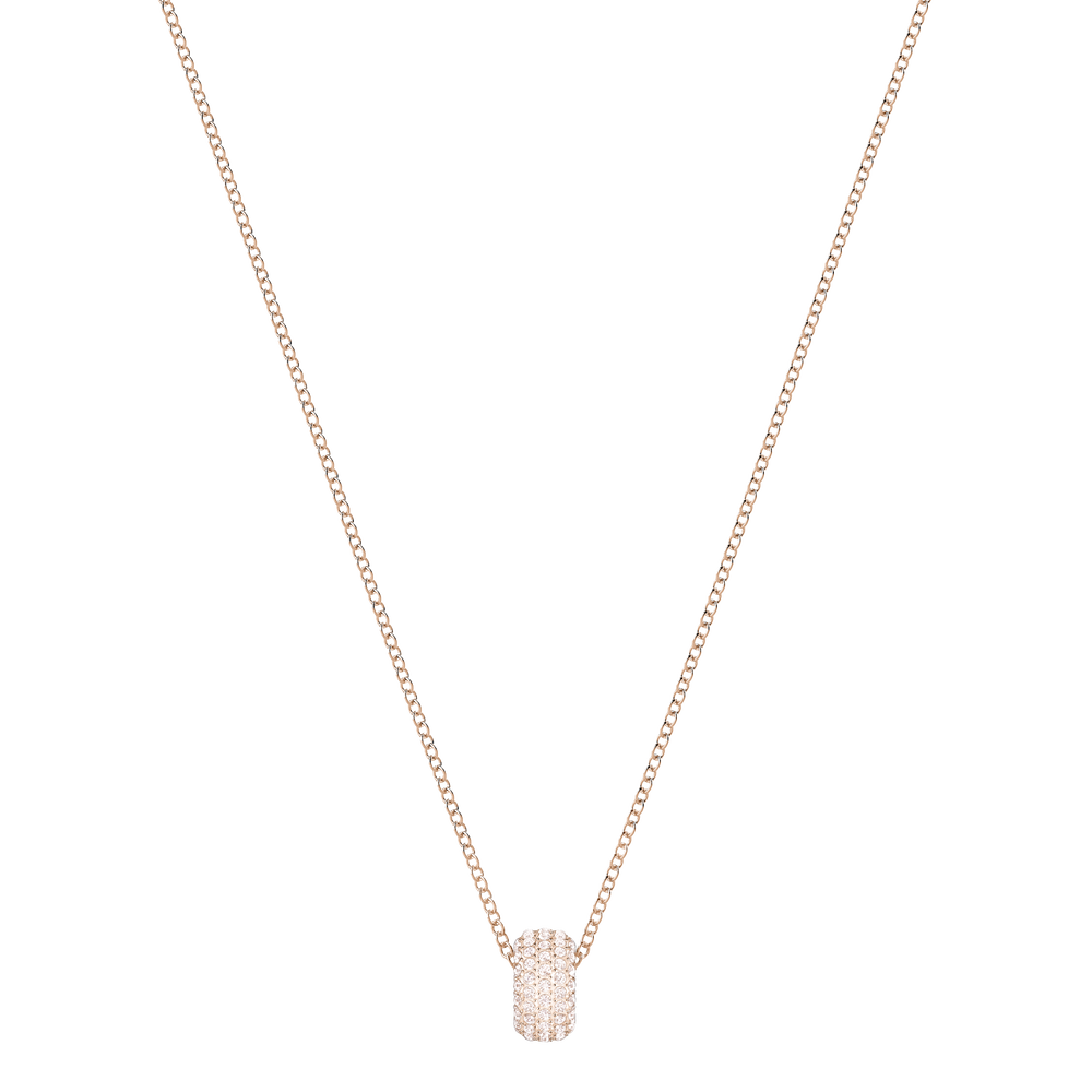 Stone Round Pendant, Pink, Rose Gold Plating