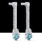 Sparkling Linear Pierced Earrings, Aqua, Rhodium plated