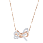 Lifelong Bow Pendant, White, Mixed plating