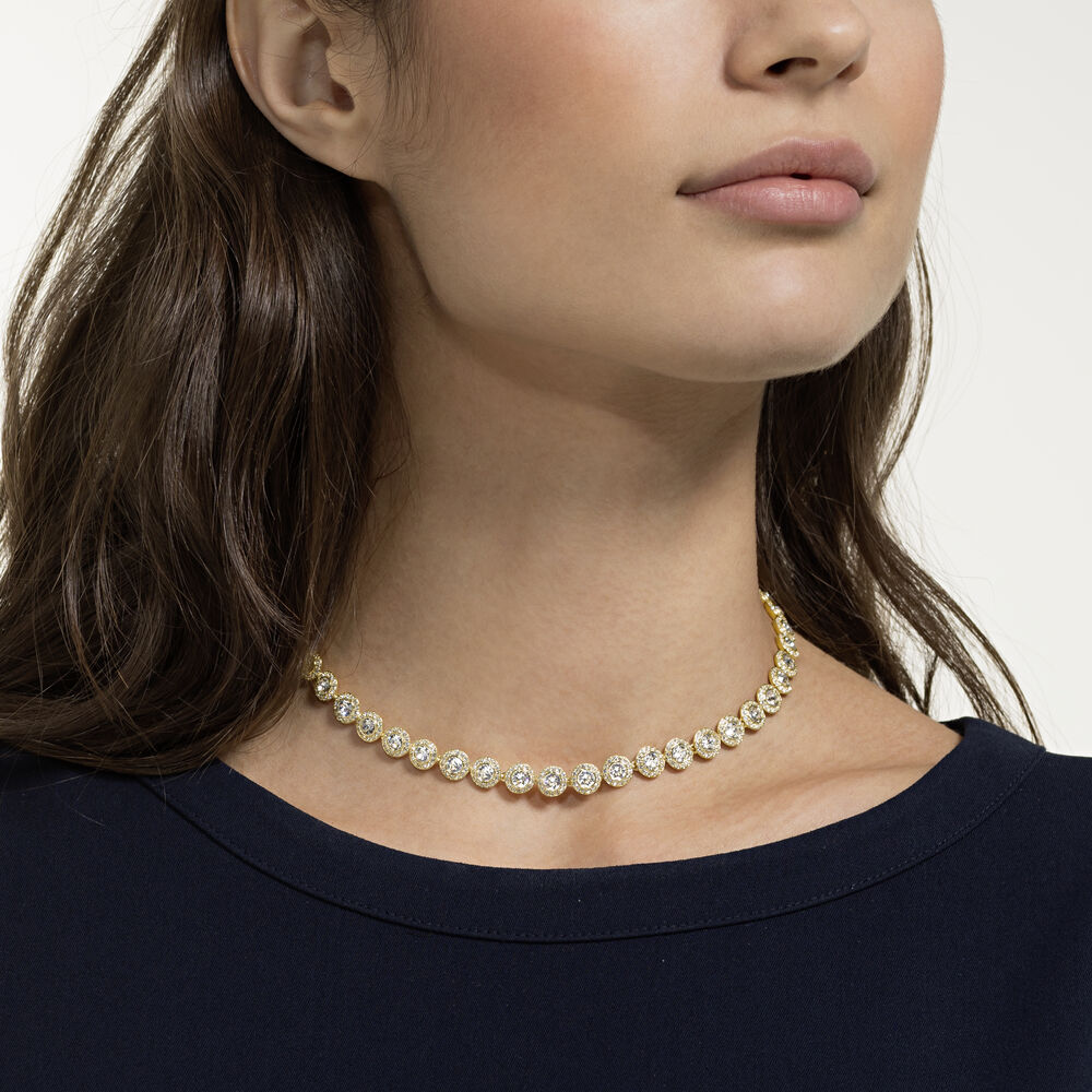 Angelic Necklace, White, Gold-tone plated