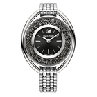 Crystalline Oval Watch, Metal bracelet, Black, Silver Tone