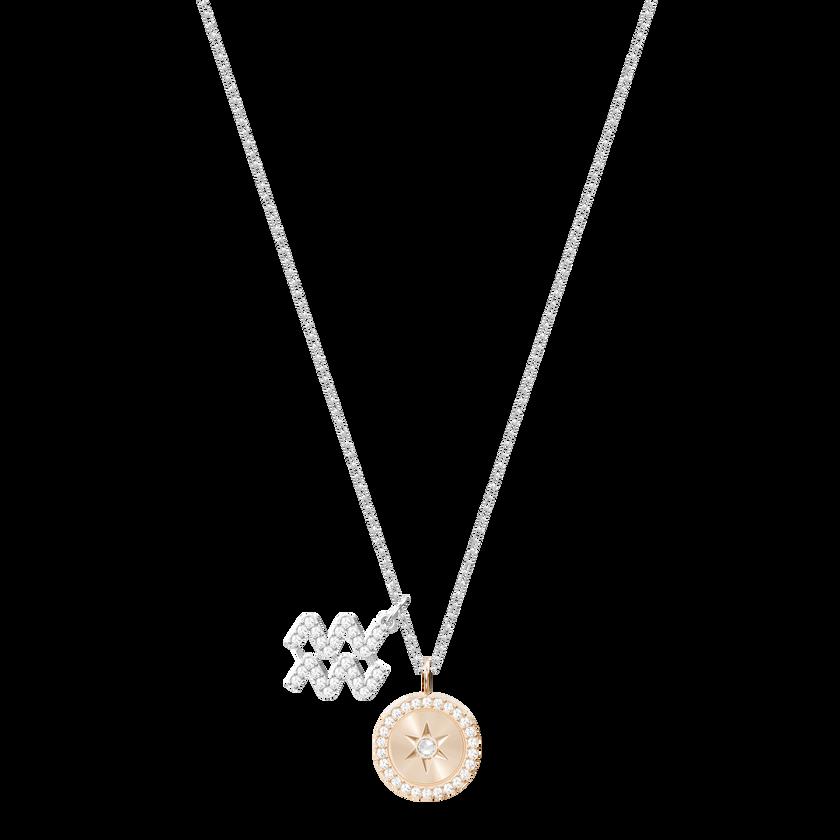 Zodiac Pendant, Aquarius, Gray, Rhodium Plating
