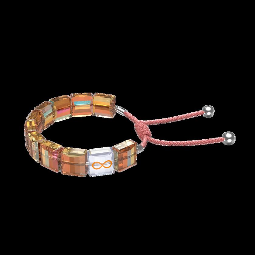 Letra bracelet, Infinity, Orange, Rhodium plated