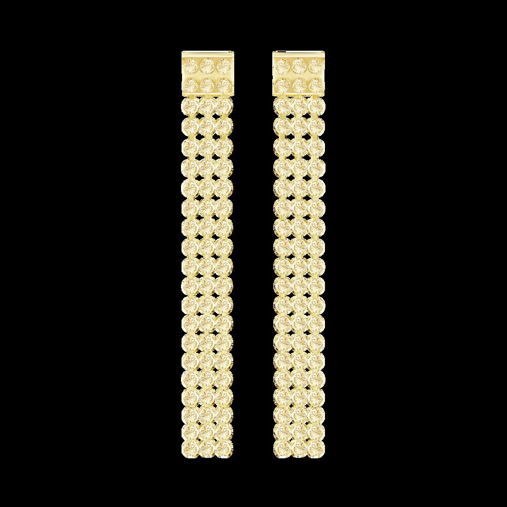 Fit Long Pierced Earrings, Golden, Gold-tone plated
