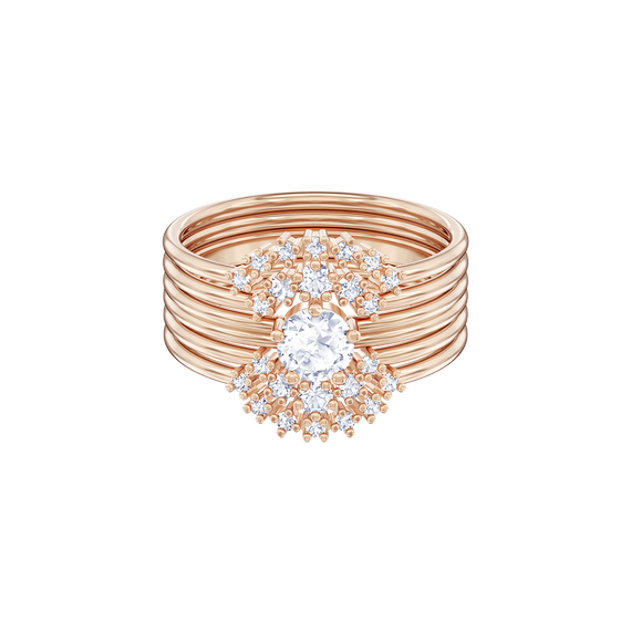 Penélope Cruz Moonsun Stacking Ring, White, Rose gold plating
