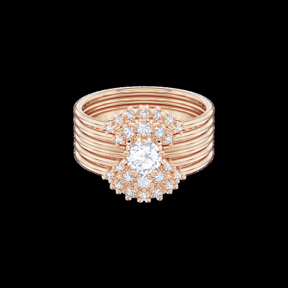 Penélope Cruz Moonsun Stacking Ring, White, Rose gold plating