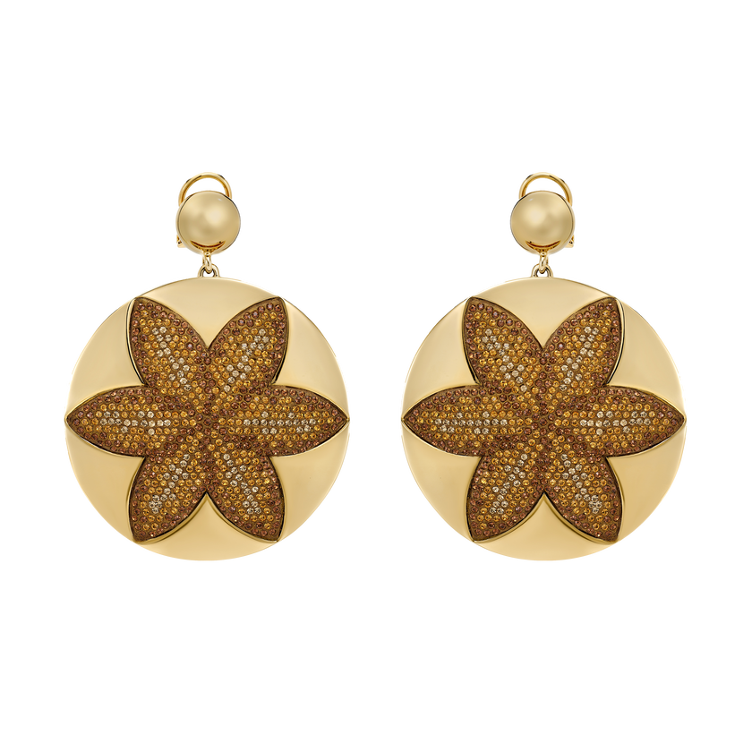 Evil Eye Disk Clip Earrings, Large, Brown, Gold-tone plated