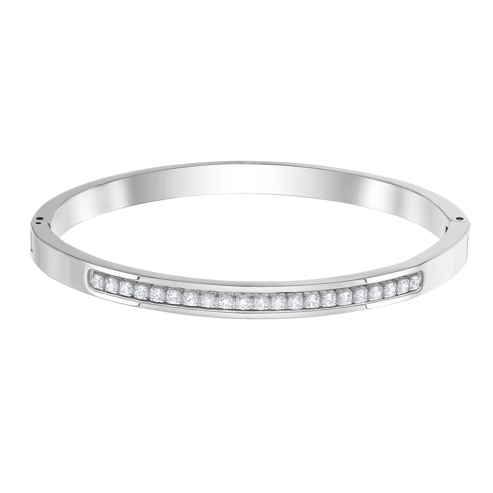 Further Bangle, White, Stainless steel