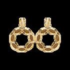 Evil Eye Hoop Clip Earrings, Brown, Gold-tone plated