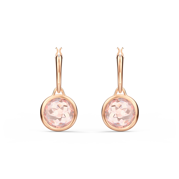 Tahlia Mini Hoop Pierced Earrings, Pink, Rose-gold tone plated