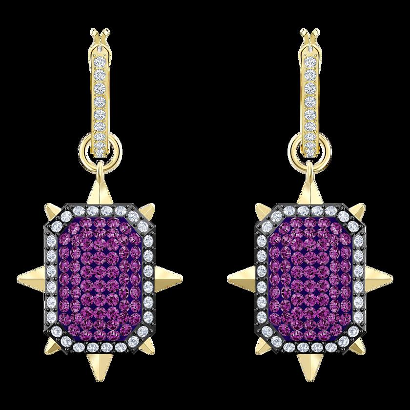 Tarot Magic Hoop Pierced Earrings, Purple, Gold-tone plated