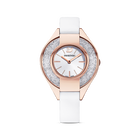 Crystalline Sporty Watch, Leather strap, White, Rose-gold tone PVD