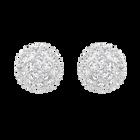 Emma Pierced Earrings, White, Rhodium Plating