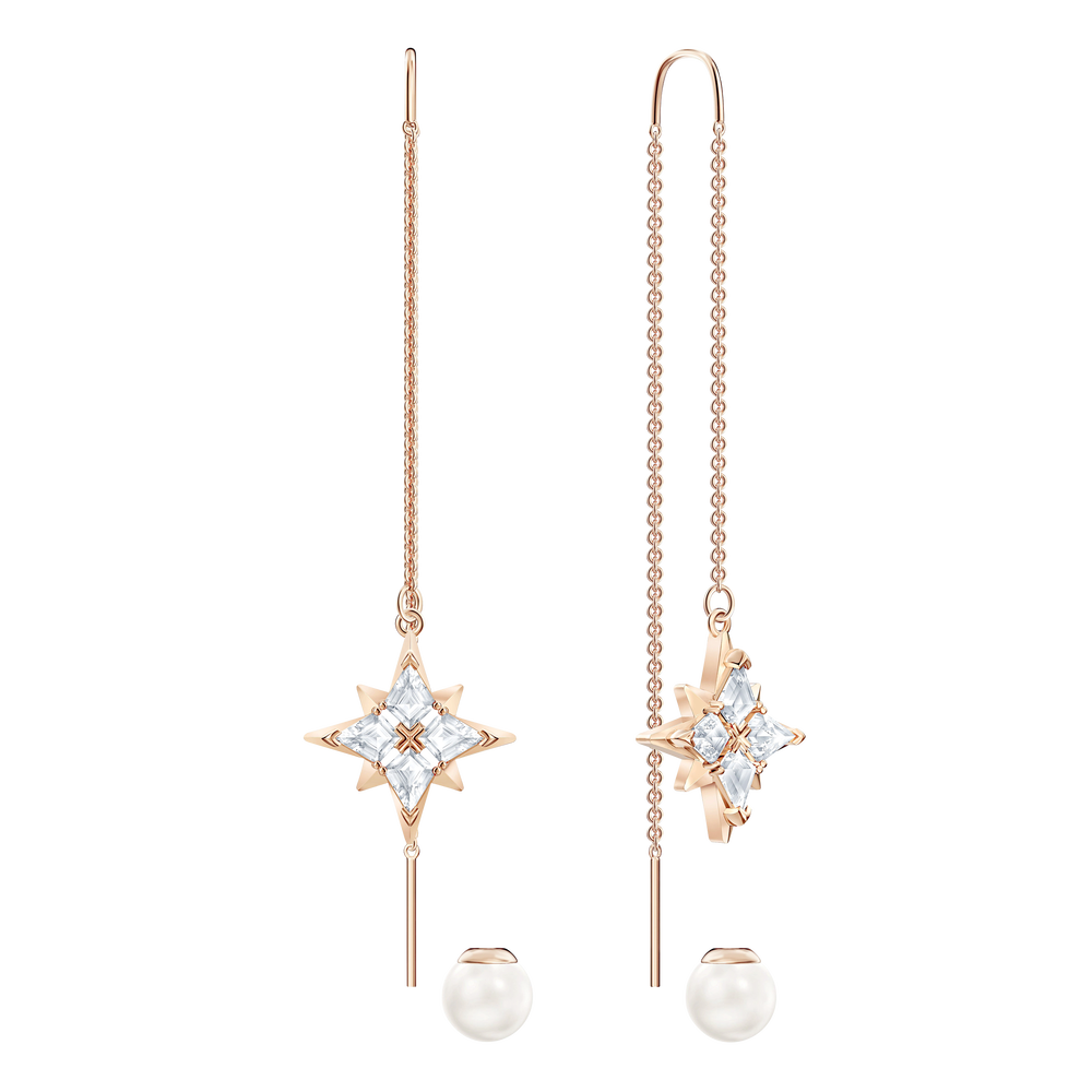 Swarovski Symbolic Chain Pierced Earrings, White, Rose-gold tone plated