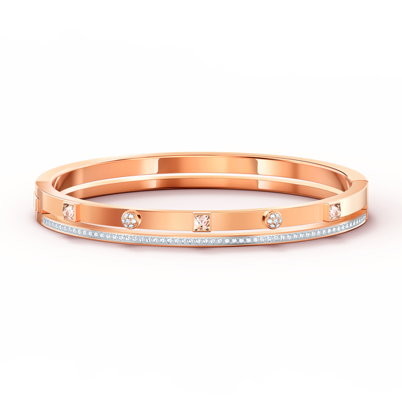 Thrilling Bangle, White, Rose-gold tone plated