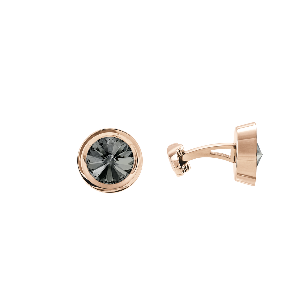 Round Cuff Links, Gray, Rose Gold Plating