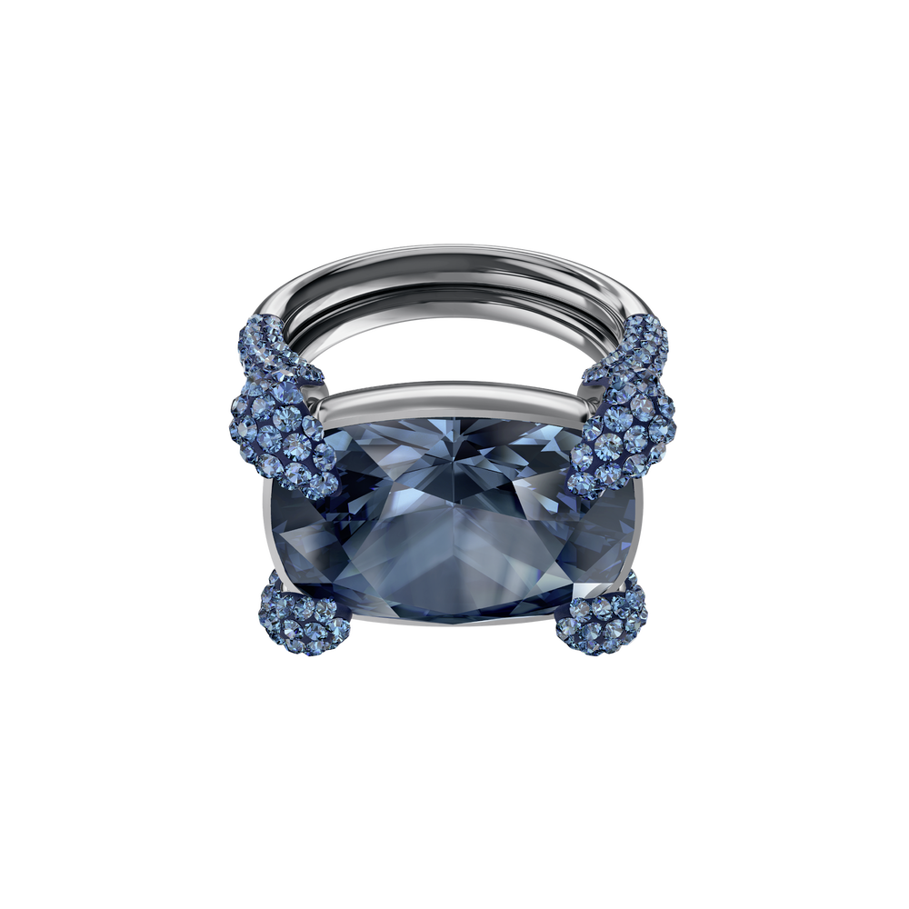 Make Cocktail Ring, Blue, Ruthenium plated