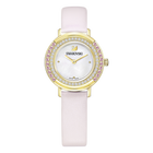 Playful Mini Watch, Leather strap, Pink, Gold tone