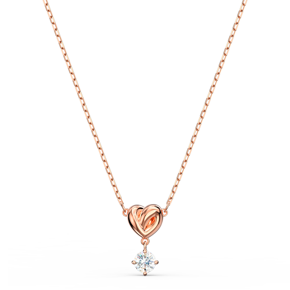 Lifelong Heart Pendant, White, Rose-gold tone plated