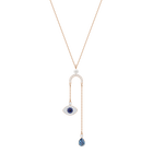 Duo Evil Eye Y Necklace, Multi-Colored, Rose Gold Plating