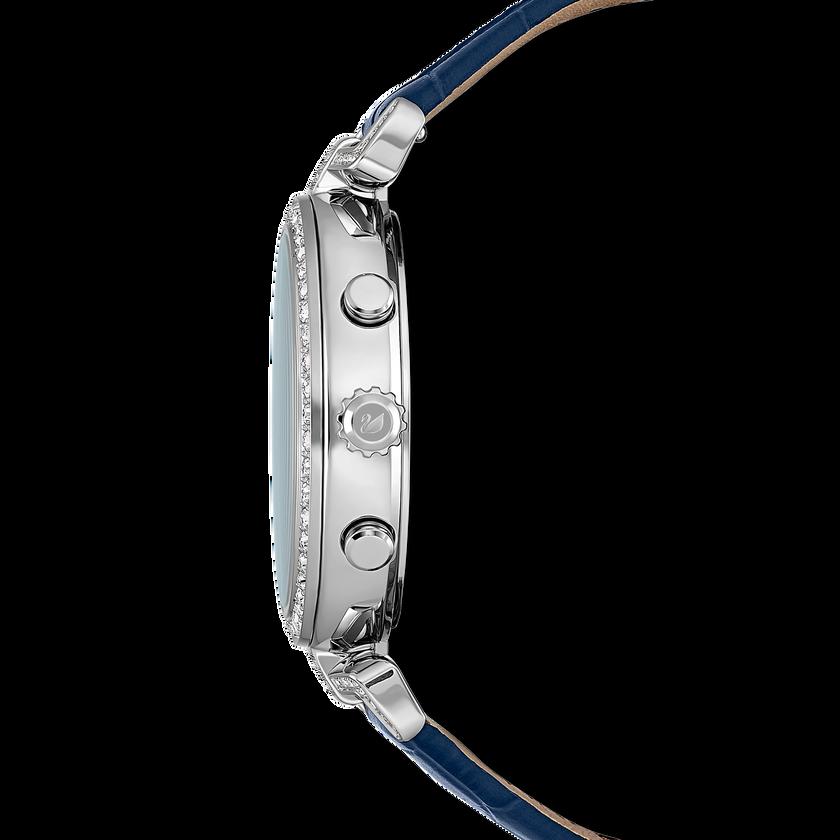 Era Journey Watch, Leather strap, Blue, Silver tone