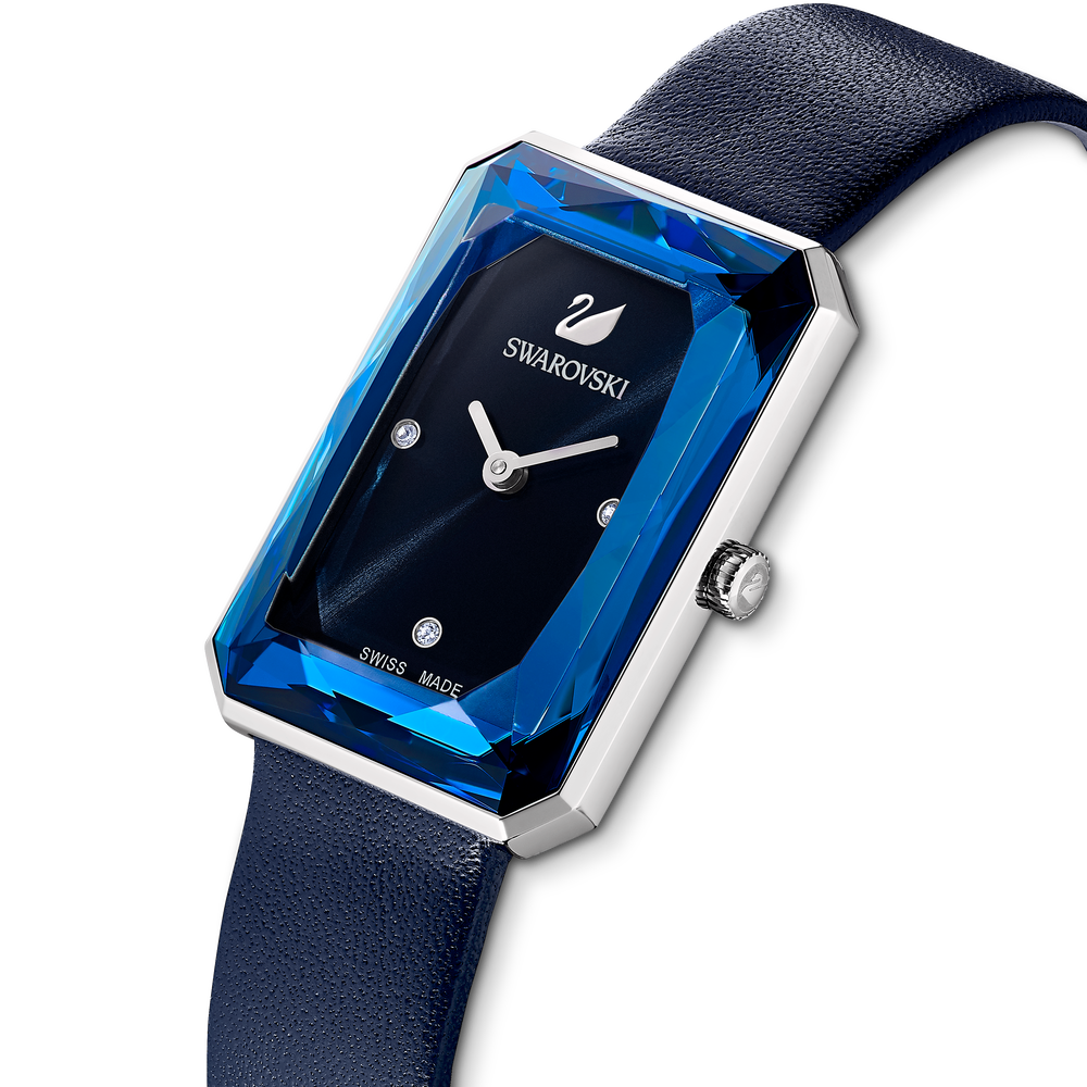 Uptown Watch, Leather strap, Blue, Stainless steel