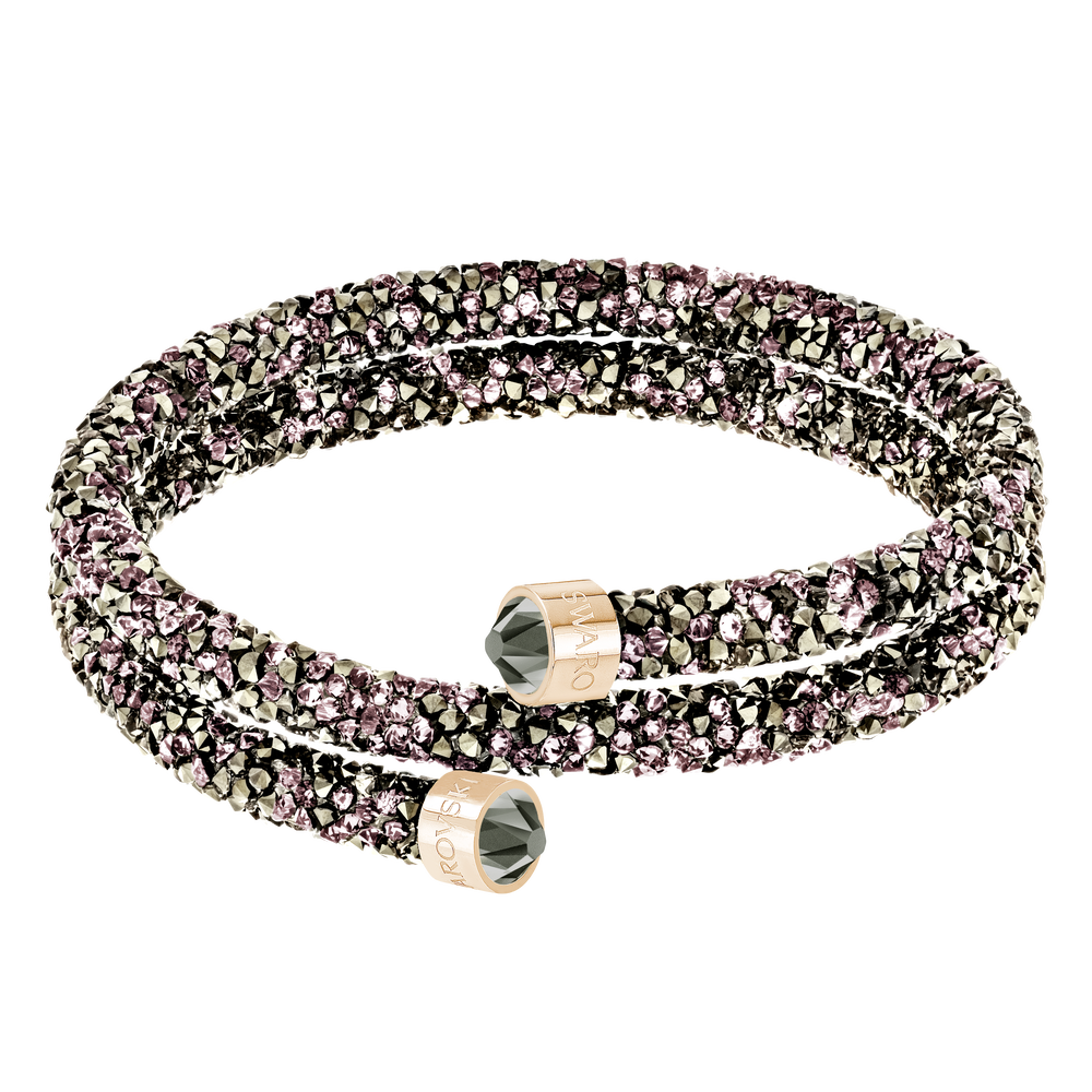 Crystaldust Double Bangle, Multi-colored, Rose-gold tone plated