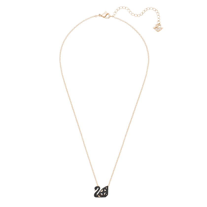 Facet Swan Necklace, Black, Mixed Plating