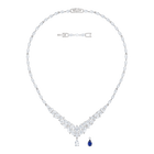 Louison Necklace, Large, White, Rhodium Plating