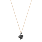 Leslie Pendant, Small, Black, Rose Gold Plating