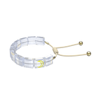 Letra bracelet, Moon, White, Gold-tone plated