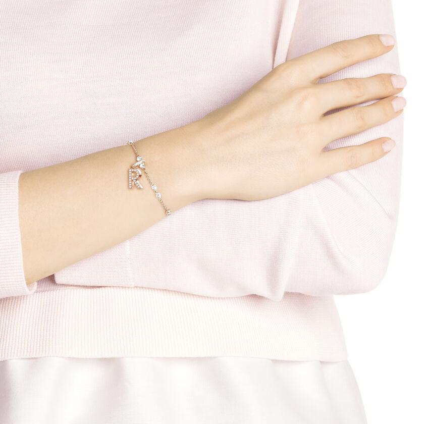 Swarovski Remix Collection Charm R, White, Rose Gold Plating